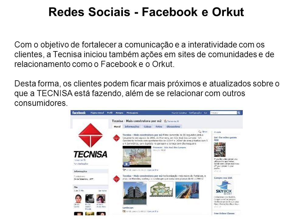 Redes Sociais - Facebook e Orkut
