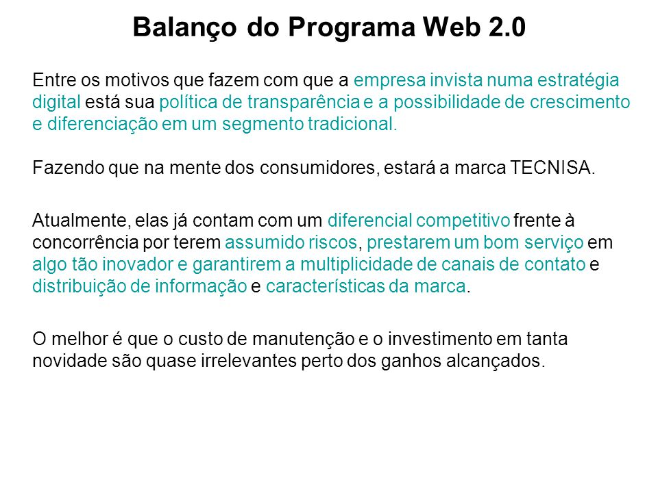 Balanço do Programa Web 2.0
