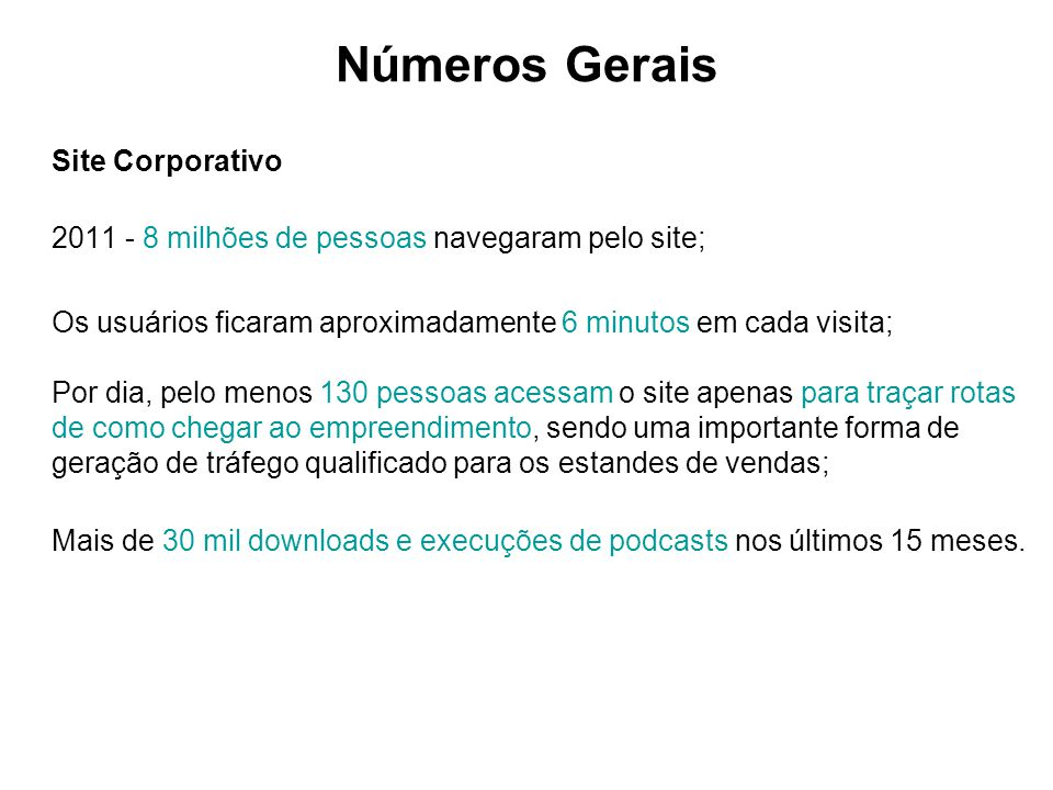 Números Gerais Site Corporativo