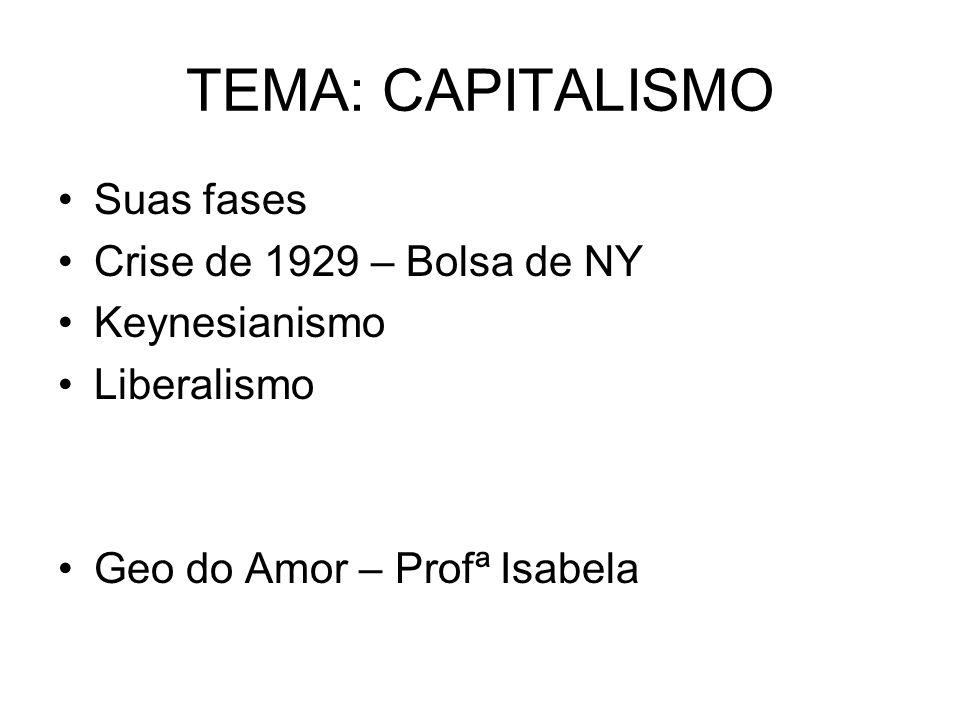 TEMA: CAPITALISMO Suas fases Crise de 1929 – Bolsa de NY Keynesianismo