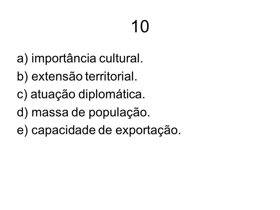 10 a) importância cultural. b) extensão territorial.