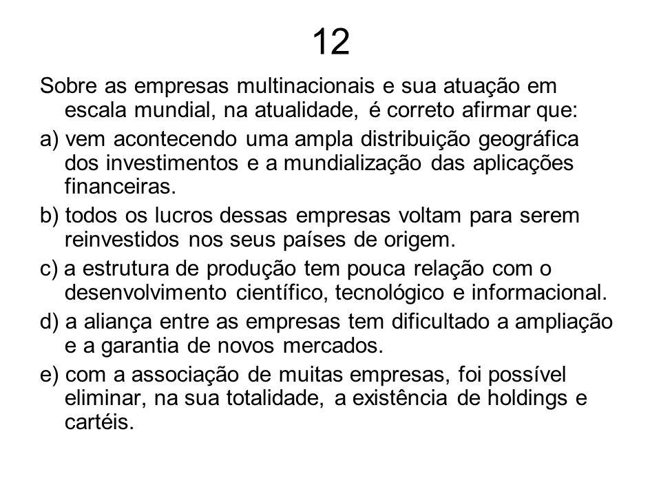 12 Sobre as empresas multinacionais e sua atuação em escala mundial, na atualidade, é correto afirmar que: