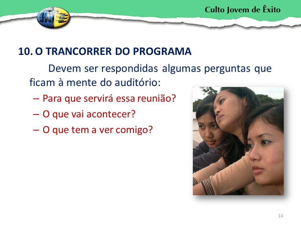 O TRANCORRER DO PROGRAMA