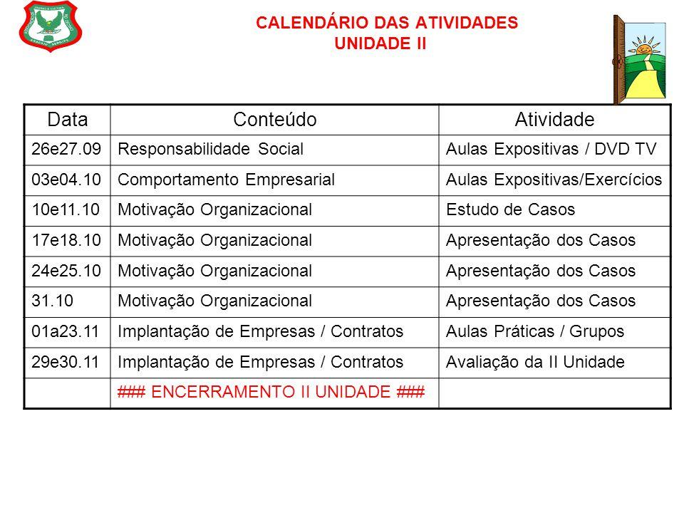 CALENDÁRIO DAS ATIVIDADES UNIDADE II