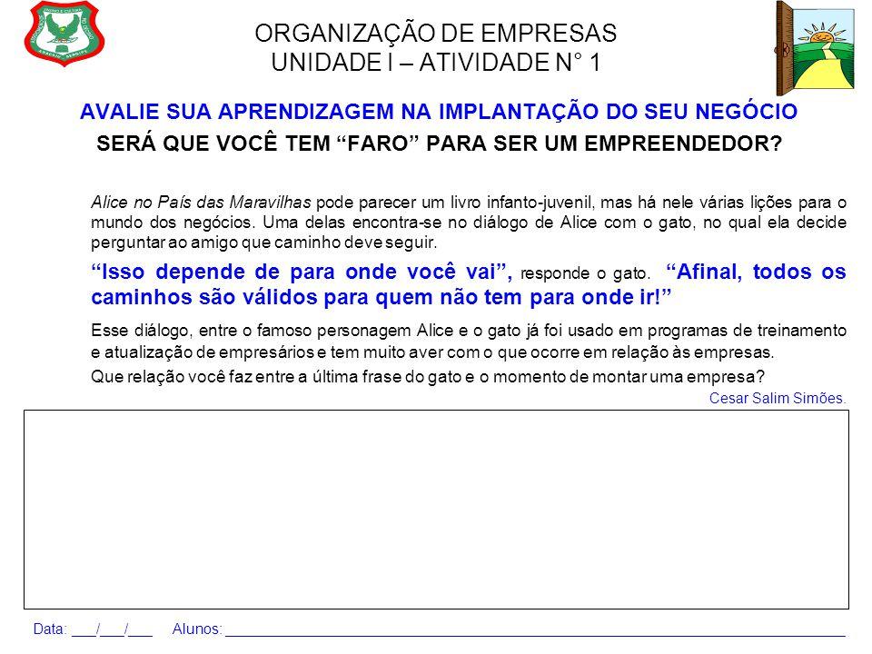 ORGANIZAÇÃO DE EMPRESAS UNIDADE I – ATIVIDADE N° 1