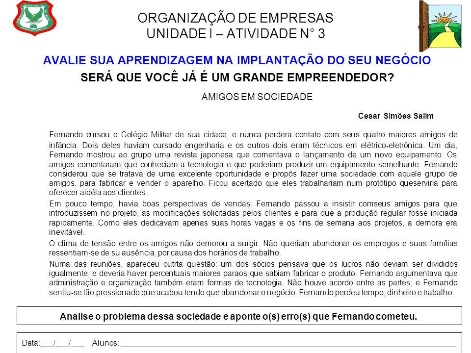 ORGANIZAÇÃO DE EMPRESAS UNIDADE I – ATIVIDADE N° 3