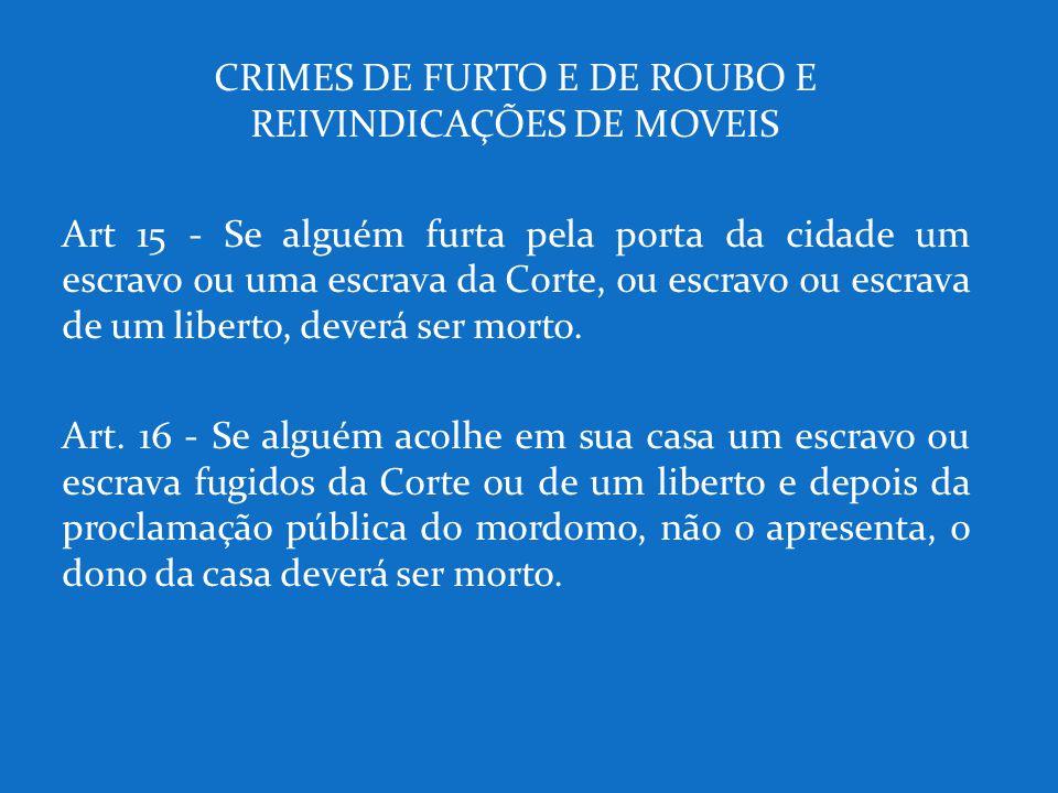 CRIMES DE FURTO E DE ROUBO E REIVINDICAÇÕES DE MOVEIS