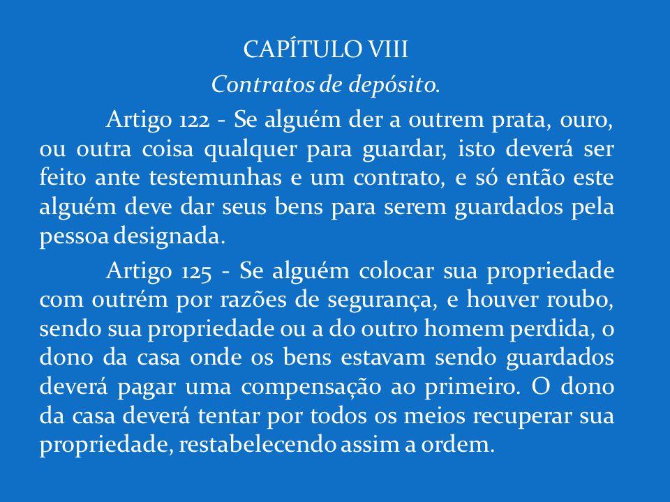 CAPÍTULO VIII Contratos de depósito.