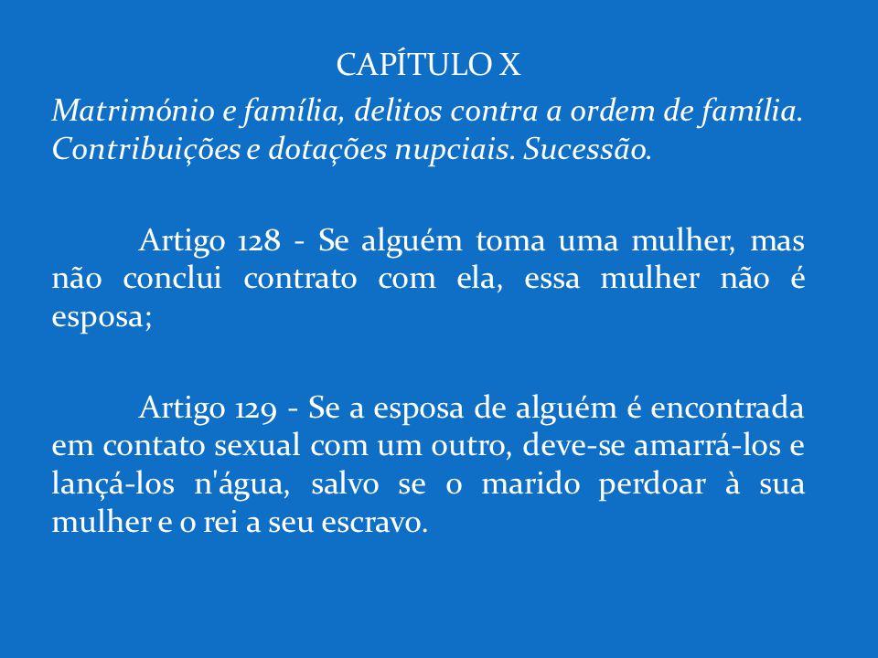 CAPÍTULO X Matrimónio e família, delitos contra a ordem de família. Contribuições e dotações nupciais. Sucessão.
