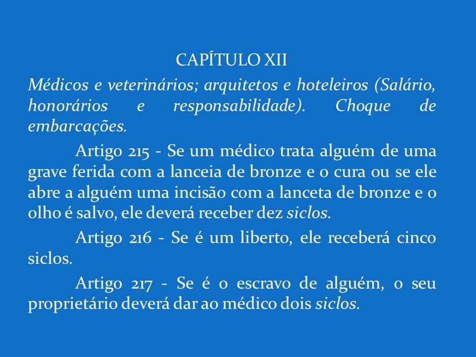 CAPÍTULO XII Médicos e veterinários; arquitetos e hoteleiros (Salário, honorários e responsabilidade). Choque de embarcações.