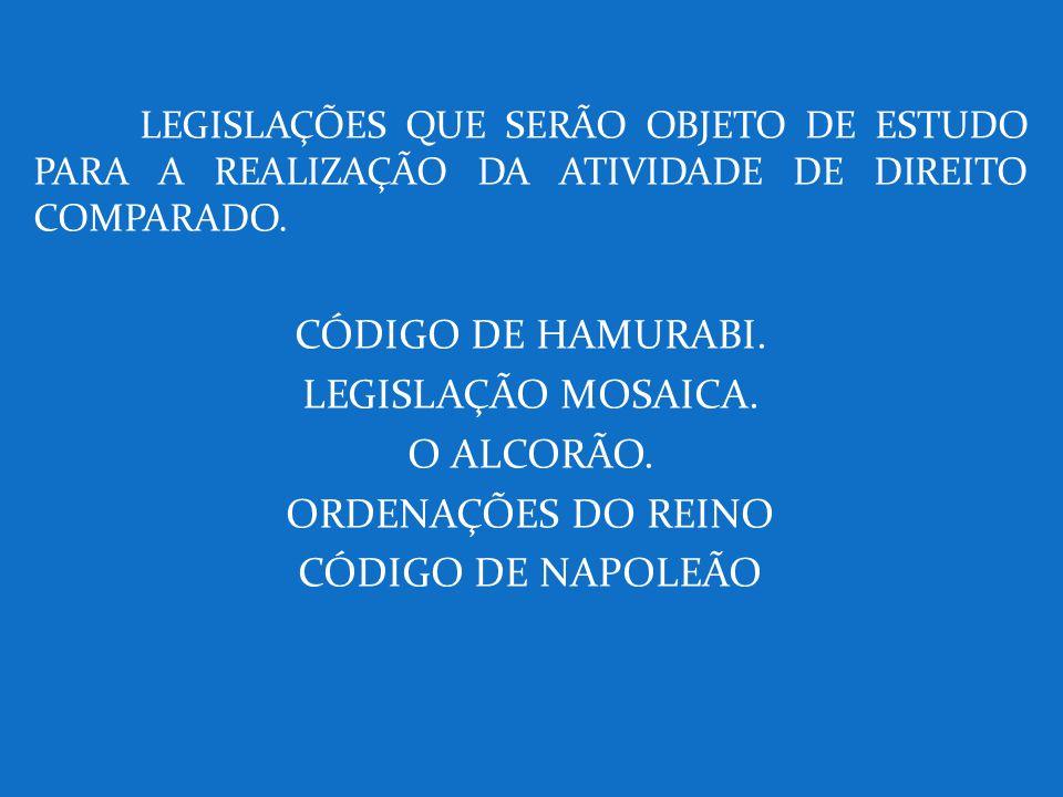 CÓDIGO DE HAMURABI. LEGISLAÇÃO MOSAICA. O ALCORÃO. ORDENAÇÕES DO REINO