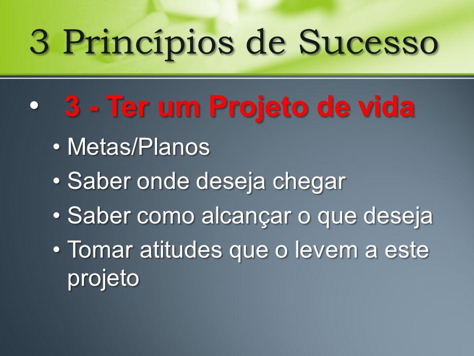 3 Princípios de Sucesso 3 - Ter um Projeto de vida Metas/Planos