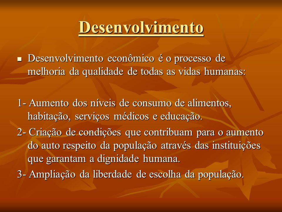 Desenvolvimento Desenvolvimento econômico é o processo de melhoria da qualidade de todas as vidas humanas: