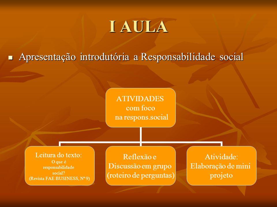 I AULA Apresentação introdutória a Responsabilidade social