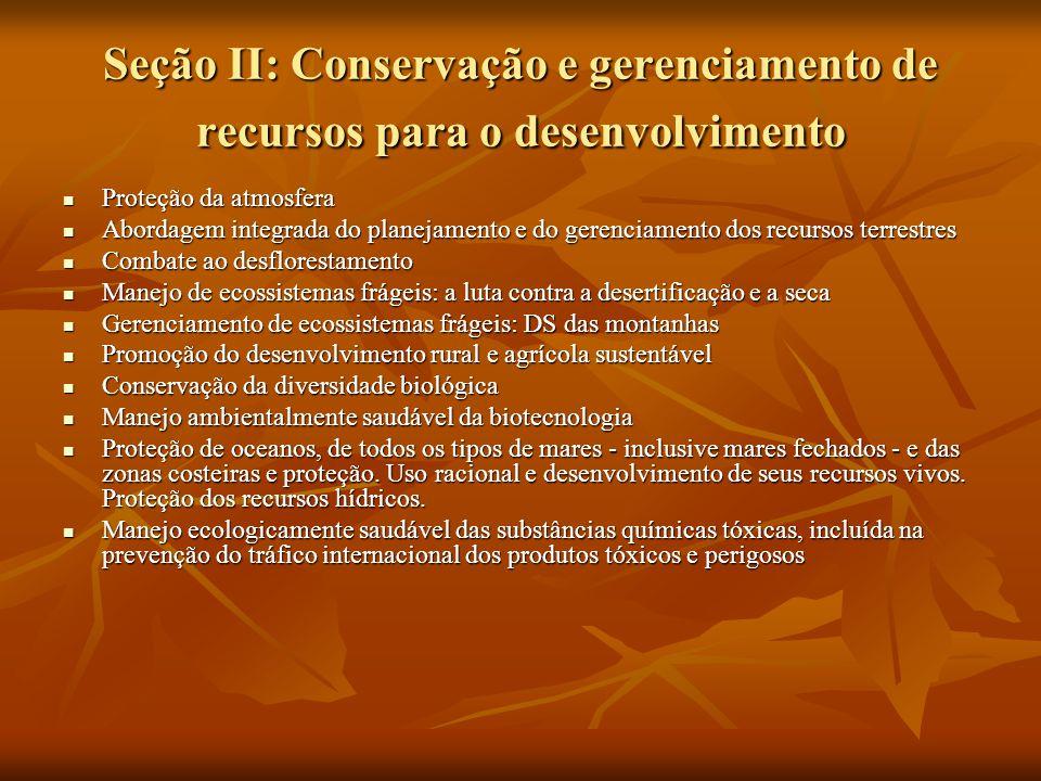 Seção II: Conservação e gerenciamento de recursos para o desenvolvimento
