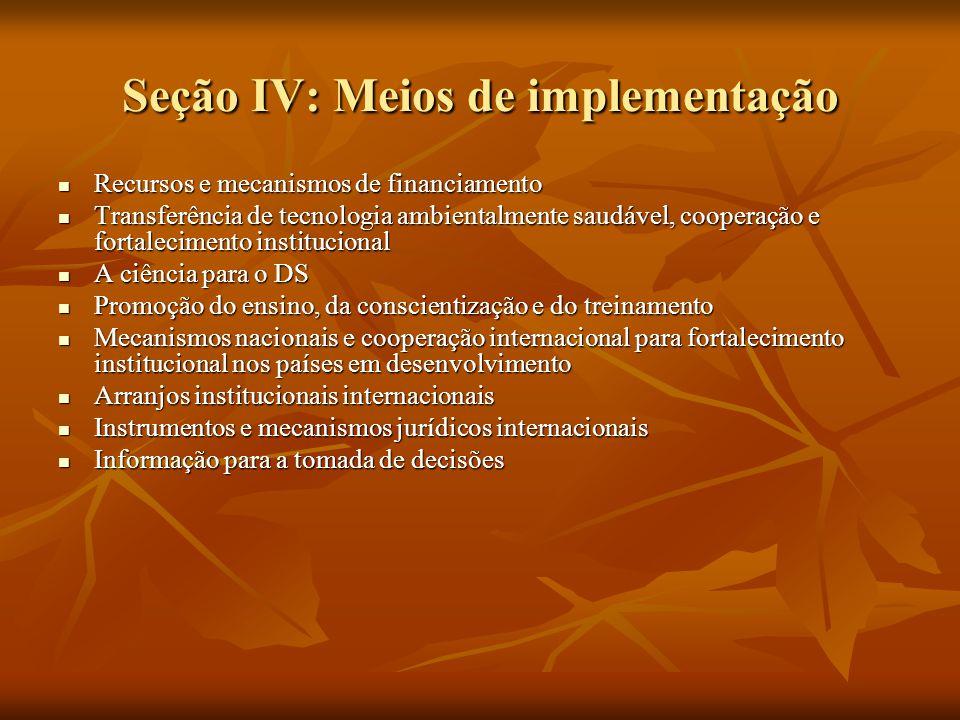 Seção IV: Meios de implementação