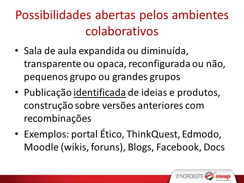 Possibilidades abertas pelos ambientes colaborativos