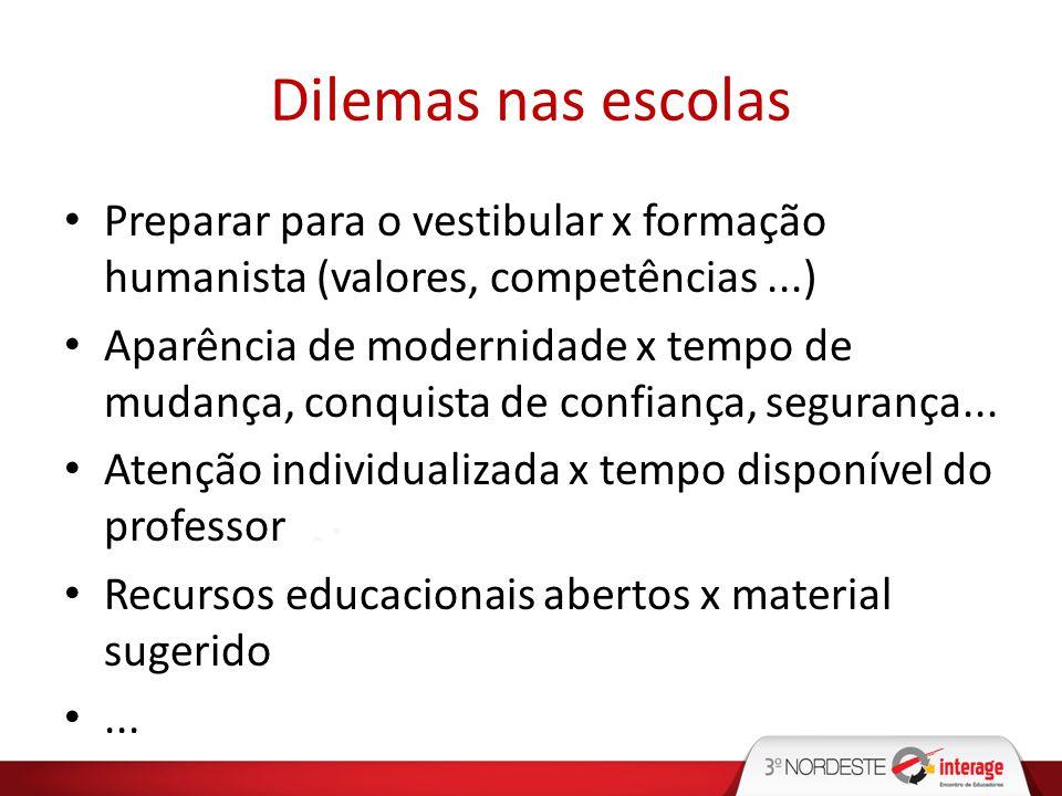 Dilemas nas escolas Preparar para o vestibular x formação humanista (valores, competências ...)