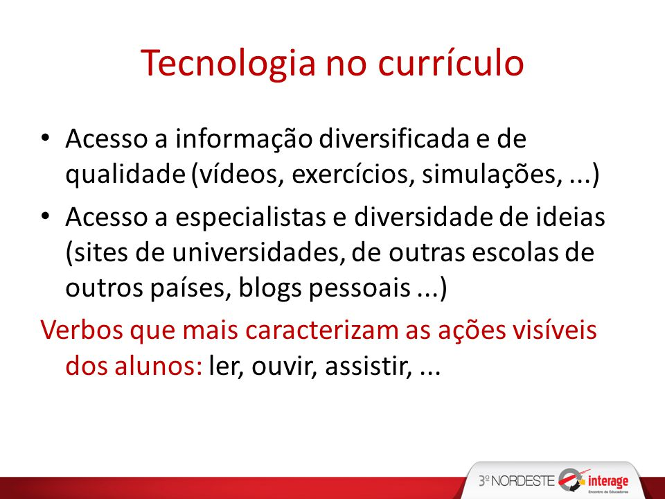 Tecnologia no currículo