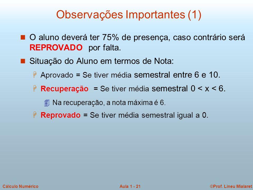 Observações Importantes (1)