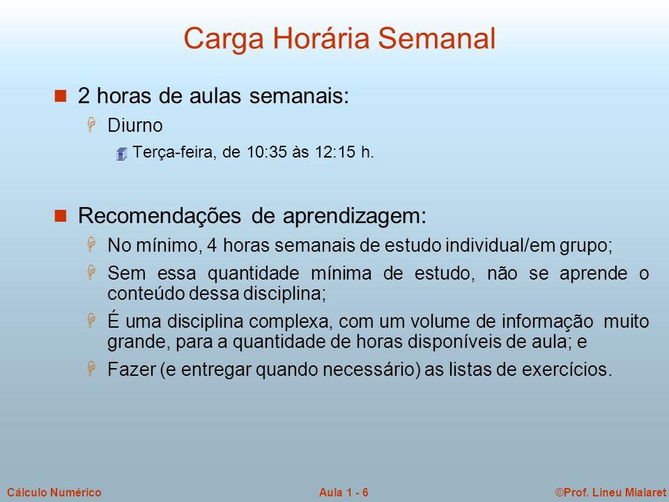 Carga Horária Semanal 2 horas de aulas semanais:
