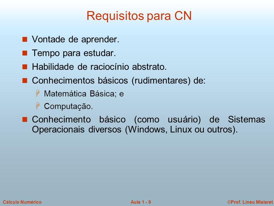 Requisitos para CN Vontade de aprender. Tempo para estudar.