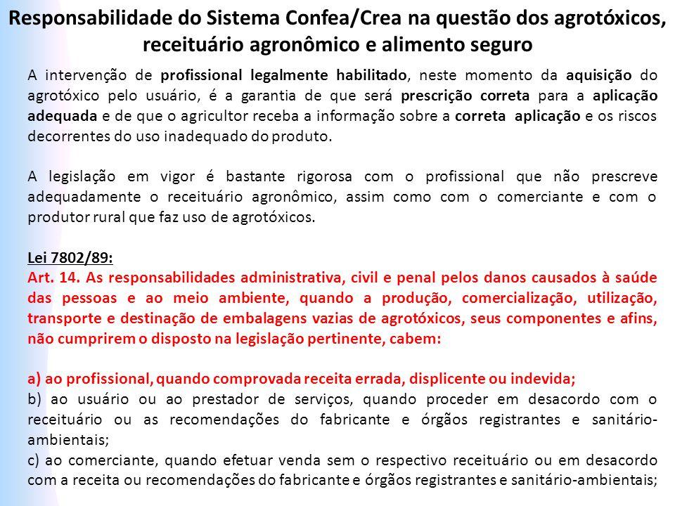 Responsabilidade do Sistema Confea/Crea na questão dos agrotóxicos, receituário agronômico e alimento seguro