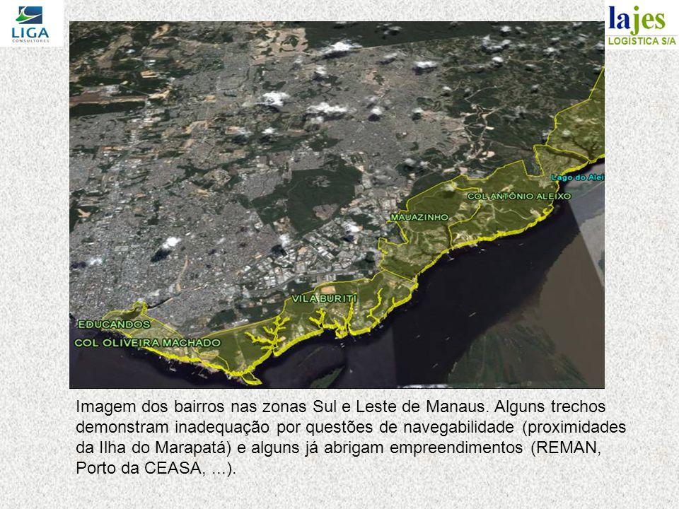 Imagem dos bairros nas zonas Sul e Leste de Manaus. Alguns trechos