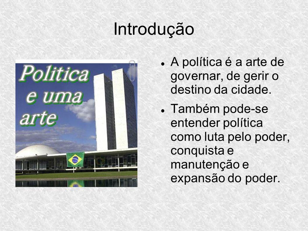 Introdução A política é a arte de governar, de gerir o destino da cidade.