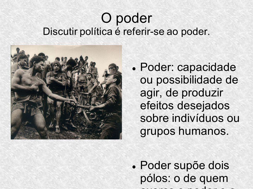 O poder Discutir política é referir-se ao poder.
