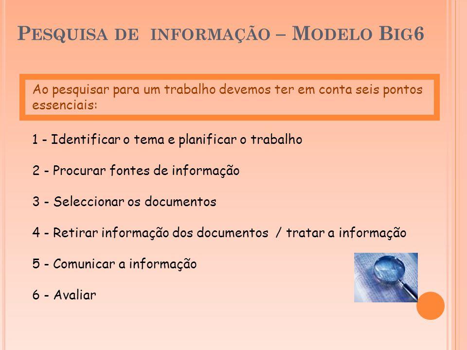 Pesquisa de informação – Modelo Big6