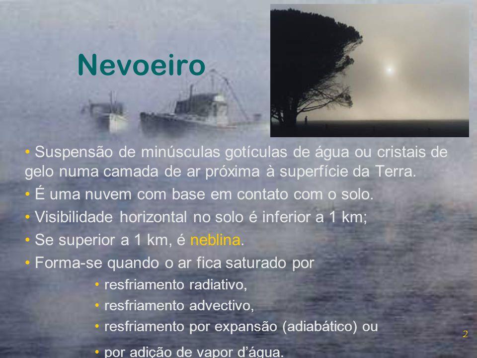 Nevoeiro Suspensão de minúsculas gotículas de água ou cristais de gelo numa camada de ar próxima à superfície da Terra.