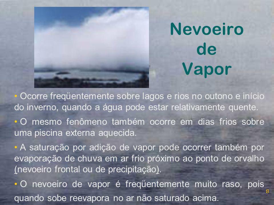 Nevoeiro de Vapor Ocorre freqüentemente sobre lagos e rios no outono e início do inverno, quando a água pode estar relativamente quente.