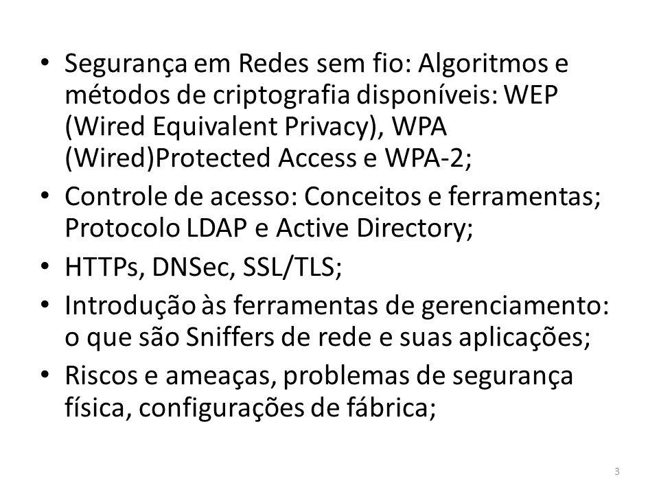 Segurança em Redes sem fio: Algoritmos e métodos de criptografia disponíveis: WEP (Wired Equivalent Privacy), WPA (Wired)Protected Access e WPA-2;