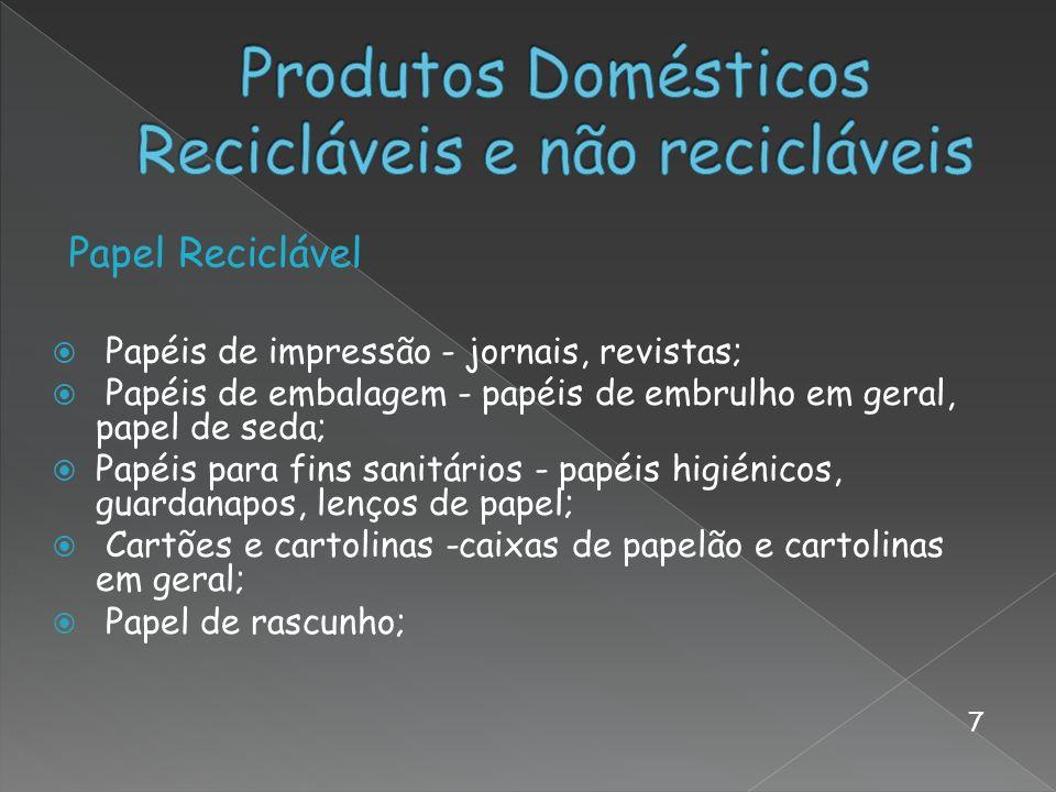 Produtos Domésticos Recicláveis e não recicláveis