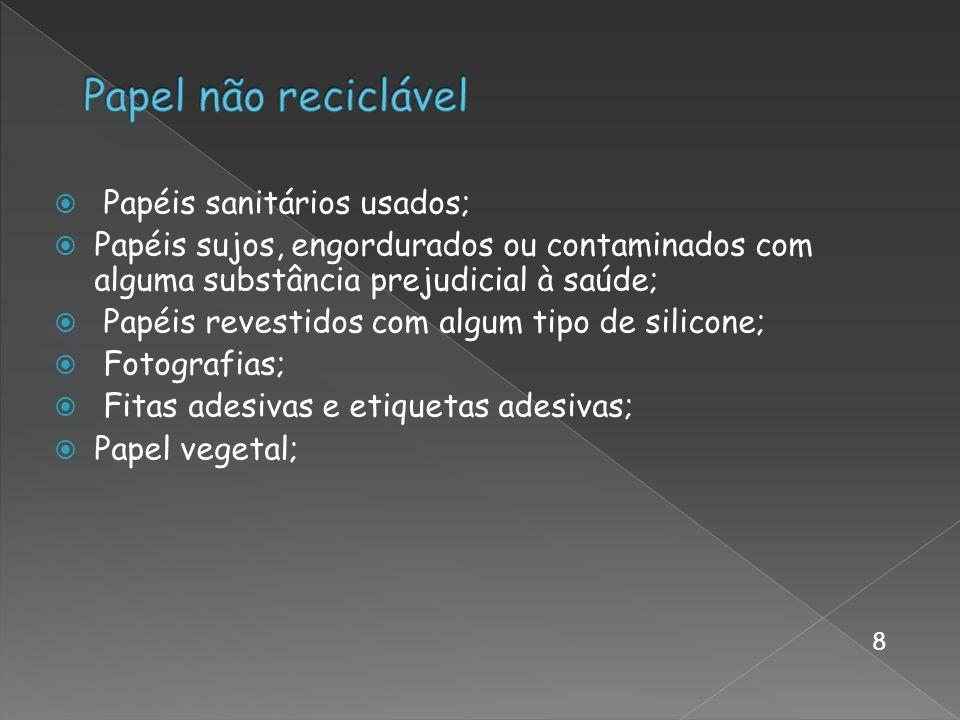 Papel não reciclável Papéis sanitários usados;