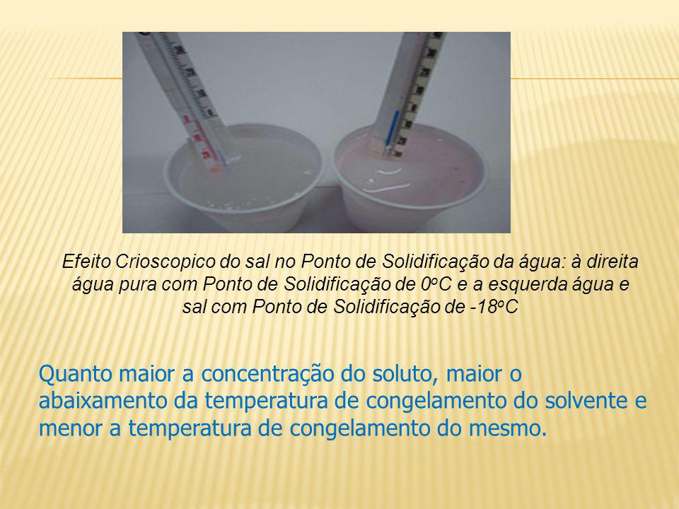 Efeito Crioscopico do sal no Ponto de Solidificação da água: à direita água pura com Ponto de Solidificação de 0oC e a esquerda água e sal com Ponto de Solidificação de -18oC