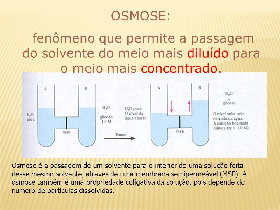OSMOSE: fenômeno que permite a passagem do solvente do meio mais diluído para o meio mais concentrado.