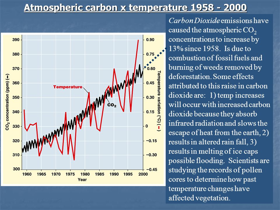 Atmospheric carbon x temperature 1958 - 2000