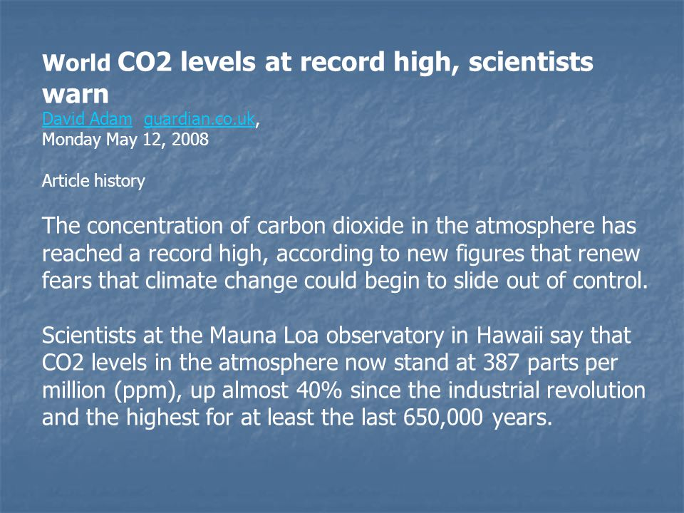 World CO2 levels at record high, scientists warn