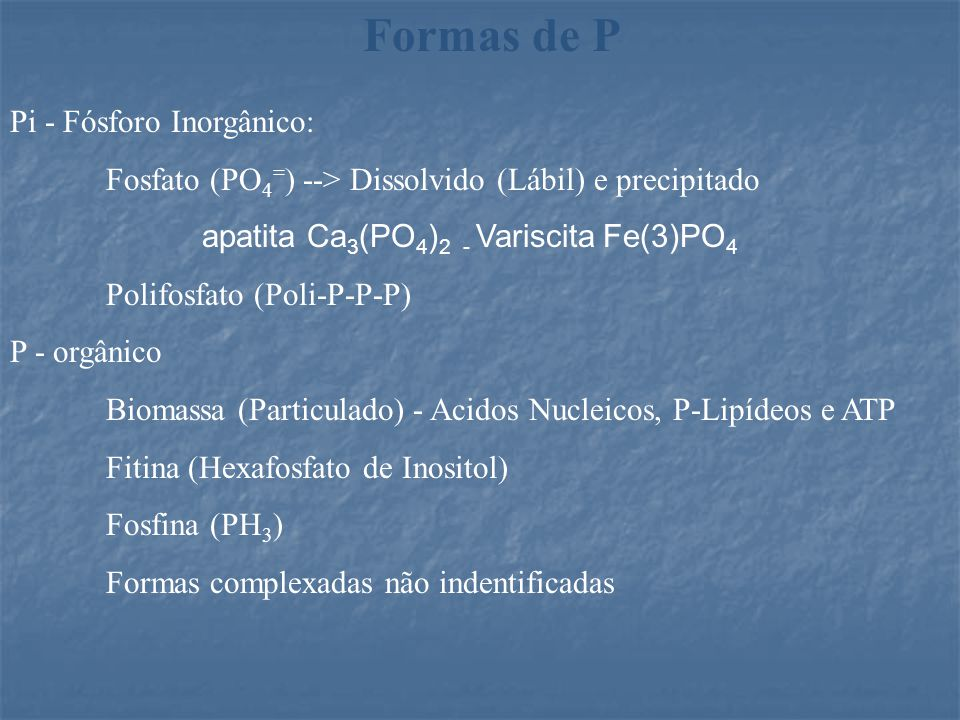 Formas de P Pi - Fósforo Inorgânico: