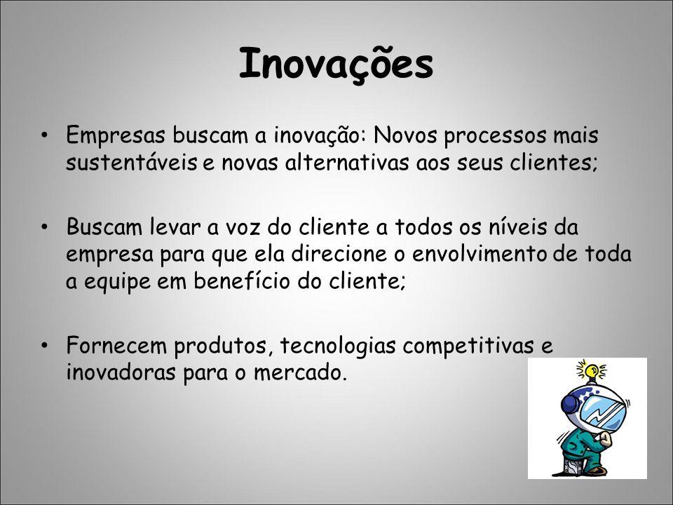 Inovações Empresas buscam a inovação: Novos processos mais sustentáveis e novas alternativas aos seus clientes;