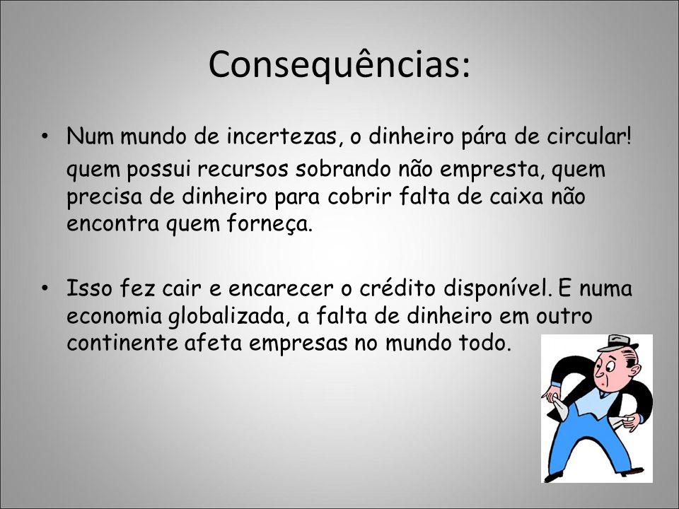 Consequências: Num mundo de incertezas, o dinheiro pára de circular!
