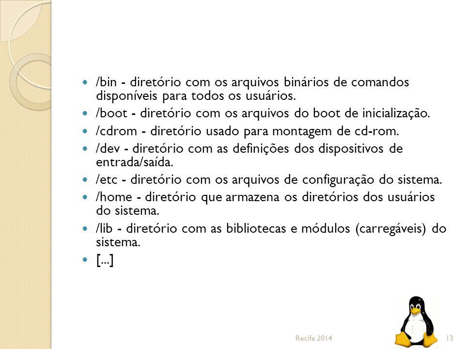 /boot - diretório com os arquivos do boot de inicialização.