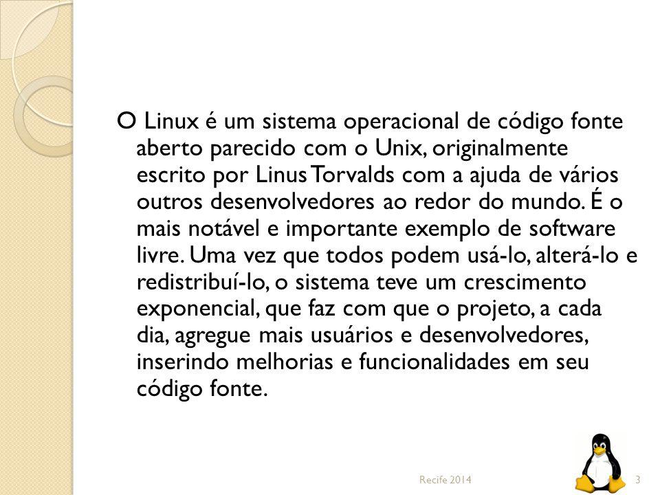 O Linux é um sistema operacional de código fonte aberto parecido com o Unix, originalmente escrito por Linus Torvalds com a ajuda de vários outros desenvolvedores ao redor do mundo. É o mais notável e importante exemplo de software livre. Uma vez que todos podem usá-lo, alterá-lo e redistribuí-lo, o sistema teve um crescimento exponencial, que faz com que o projeto, a cada dia, agregue mais usuários e desenvolvedores, inserindo melhorias e funcionalidades em seu código fonte.