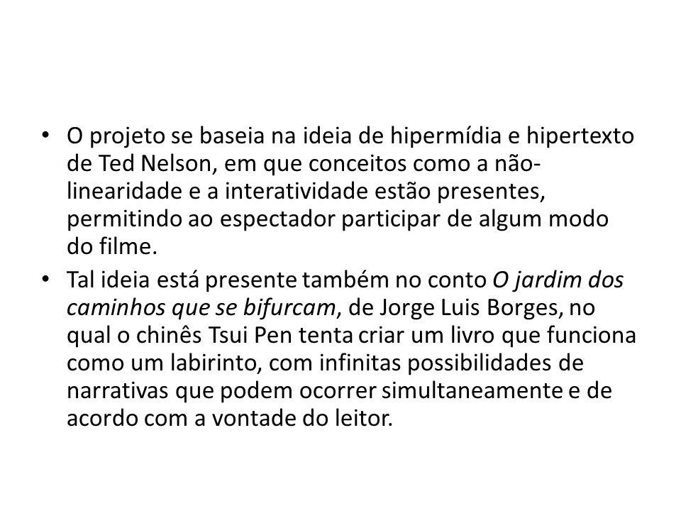 O projeto se baseia na ideia de hipermídia e hipertexto de Ted Nelson, em que conceitos como a não-linearidade e a interatividade estão presentes, permitindo ao espectador participar de algum modo do filme.