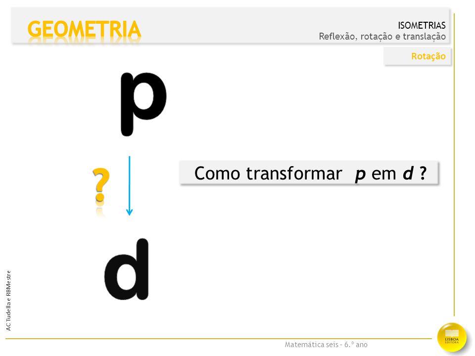 p d GEOMETRIA Como transformar p em d Rotação