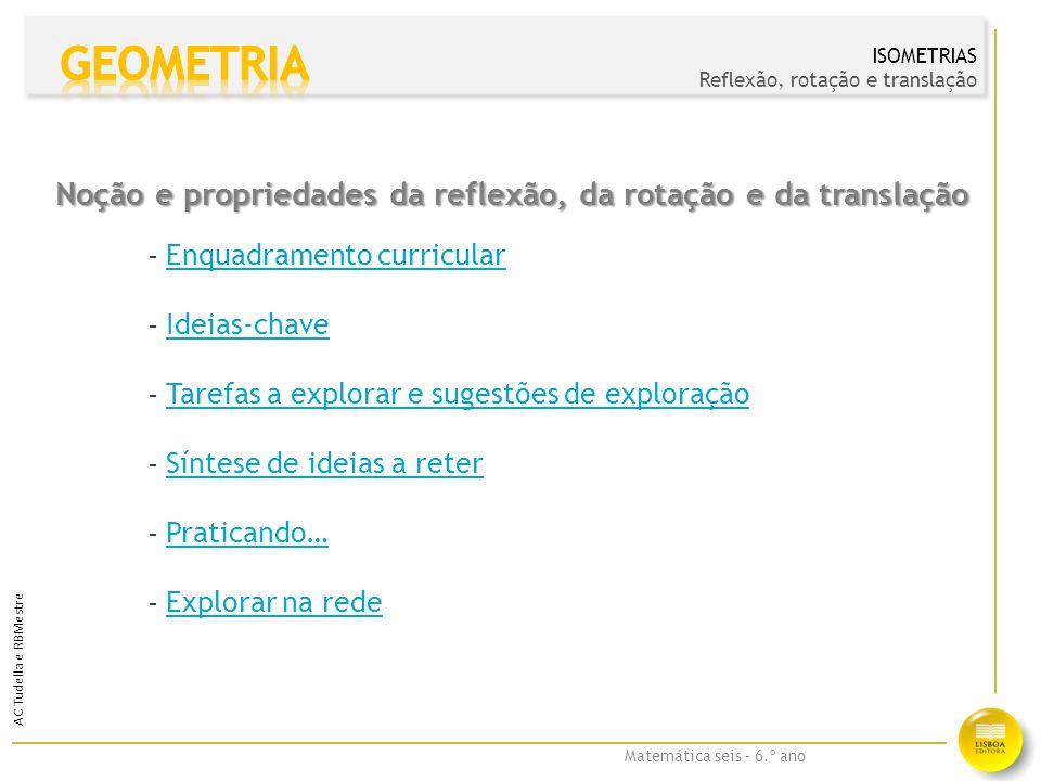 GEOMETRIA Noção e propriedades da reflexão, da rotação e da translação