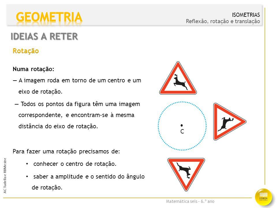 GEOMETRIA IDEIAS A RETER Rotação C Numa rotação: