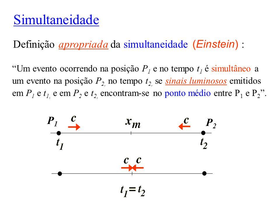 Simultaneidade Definição apropriada da simultaneidade (Einstein) : P1
